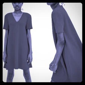ZARA TRAFALUC Black V Neck Mini Dress-M NWT